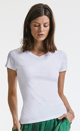 Russell Ladies Pure Organic V-Neck 103F white