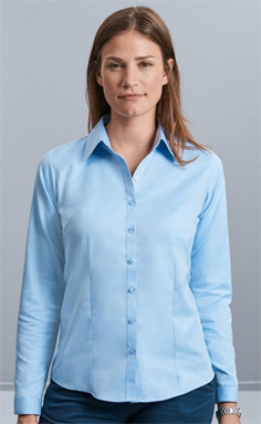 Russell Tailorted Heringbone Blouse 962, light blue